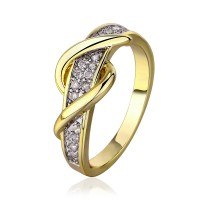 Real 18K Yellow Gold Plated Stunning CZ Diamonds Ring